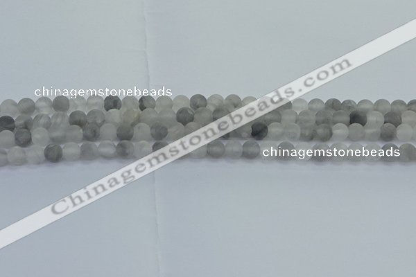 CCQ561 15.5 inches 6mm round matte cloudy quartz beads wholesale