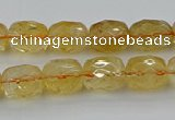 CCR179 15.5 inches 10*12mm faceted drum citrine gemstone beads