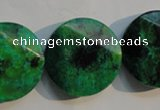 CCS677 15.5 inches 25mm faceted coin dyed chrysocolla gemstone beads