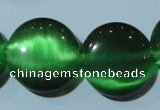 CCT576 15 inches 14mm flat round cats eye beads wholesale