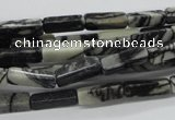 CCU506 15.5 inches 4*13mm cuboid black water jasper beads wholesale