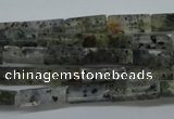 CCU514 15.5 inches 4*13mm cuboid moss quartz beads wholesale