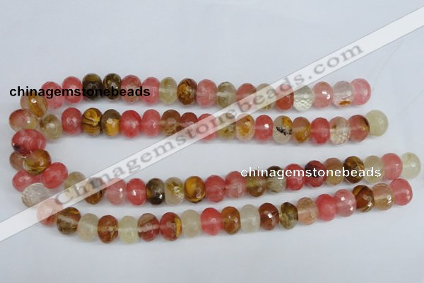 CCY207 15.5 inches 10*14mm faceted rondelle volcano cherry quartz beads