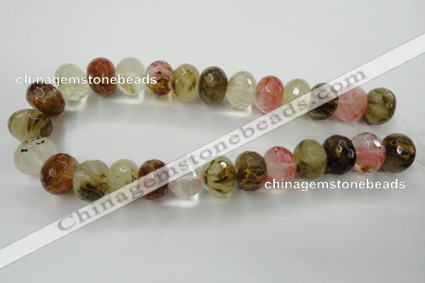 CCY406 15.5 inches 15*20mm faceted rondelle volcano cherry quartz beads