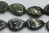 CDB217 15.5 inches 15*20mm flat teardrop natural dragon blood jasper beads