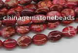 CDE12 15.5 inches 8*10mm oval dyed sea sediment jasper beads