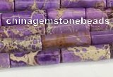 CDE1421 15.5 inches 4*13mm tube sea sediment jasper beads wholesale