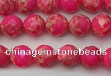 CDE2110 15.5 inches 6mm faceted round dyed sea sediment jasper beads