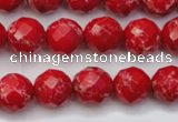 CDE2121 15.5 inches 8mm faceted round dyed sea sediment jasper beads