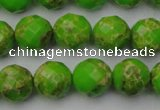 CDE2184 15.5 inches 14mm faceted round dyed sea sediment jasper beads