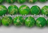 CDE2191 15.5 inches 8mm faceted round dyed sea sediment jasper beads