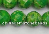 CDE2197 15.5 inches 20mm faceted round dyed sea sediment jasper beads
