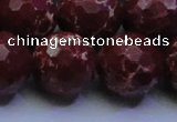 CDE2532 15.5 inches 22mm faceted round dyed sea sediment jasper beads