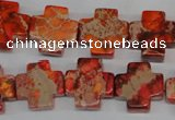 CDE561 15.5 inches 16*16mm cross dyed sea sediment jasper beads