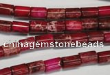 CDE590 15.5 inches 6*8mm tube dyed sea sediment jasper beads