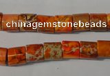 CDE737 15.5 inches 8*8mm tube dyed sea sediment jasper beads