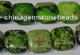CDE945 15.5 inches 16*16mm square dyed sea sediment jasper beads