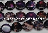CDI398 15.5 inches 12mm flat round dyed imperial jasper beads