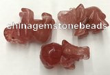 CDN415 25*50*35mm elephant cherry quartz decorations wholesale