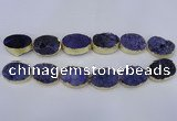 CDQ502 20*30mm - 22*30mm oval druzy quartz beads wholesale