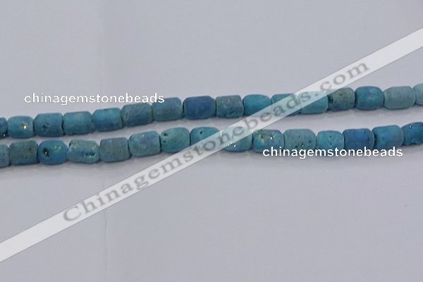 CDQ605 8 inches 6*8mm drum druzy quartz beads wholesale
