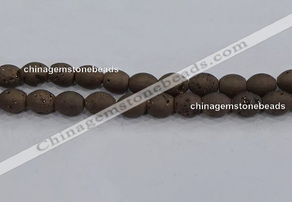 CDQ624 8 inches 10*12mm rice druzy quartz beads wholesale