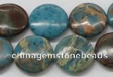 CDS14 16 inches 18mm flat round dyed serpentine jasper beads wholesale