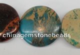 CDS33 15.5 inches 30mm flat round dyed serpentine jasper beads
