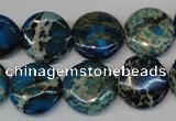CDT232 15.5 inches 16mm flat round dyed aqua terra jasper beads