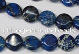CDT906 15.5 inches 12mm flat round dyed aqua terra jasper beads