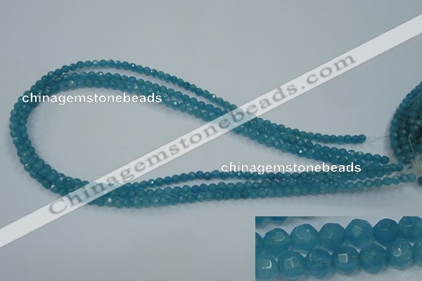 CEQ11 15.5 inches 4mm faceted round blue sponge quartz beads
