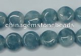 CEQ93 15.5 inches 12mm flat round blue sponge quartz beads