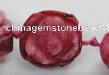CFG1171 15.5 inches 35mm carved flower plated agate gemstone beads