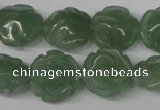 CFG231 15.5 inches 16mm carved flower green aventurine beads