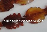 CFG279 15.5 inches 16*24mm carved leaf red agate beads