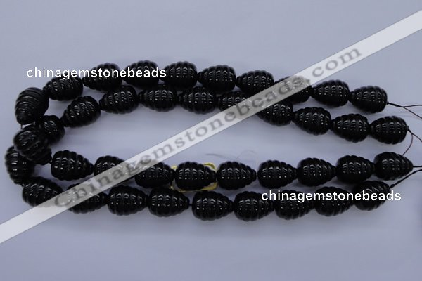 CFG758 15.5 inches 15*20mm carved teardrop black agate beads
