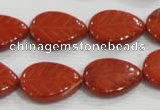 CFG822 12.5 inches 15*20mm carved leaf red jasper beads wholesale