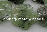 CFG922 15.5 inches 32*33mm carved flower green rutilated quartz beads