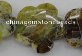 CFG936 32*33mm faceted & carved flower yellow & green opal beads