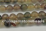 CFL1112 15.5 inches 8mm faceted round yellow fluorite gemstone beads
