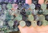 CLF1169 15.5 inches 12mm carved round fluorite gemstone beads