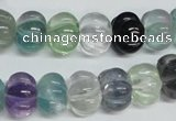 CFL301 15.5 inches 10*14mm carved rondelle natural fluorite beads