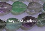 CFL715 15.5 inches 15*20mm faceted teardrop natural fluorite beads