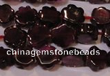 CGA386 15 inches 6mm carved flower natural red garnet beads wholesale
