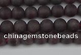 CGA671 15.5 inches 6mm round matte red garnet beads wholesale