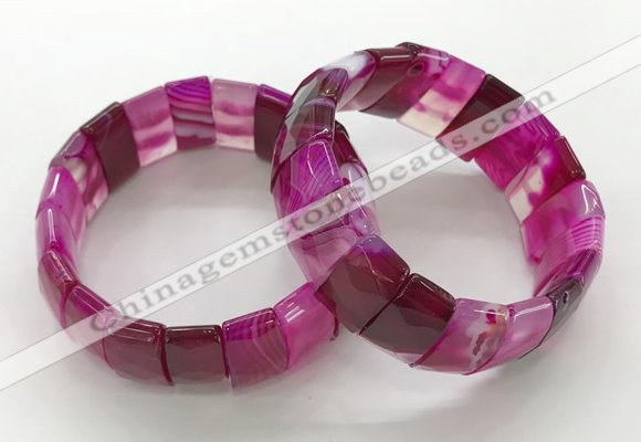 CGB3156 7.5 inches 11*23mm faceted rectangle agate bracelets