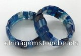 CGB3158 7.5 inches 11*23mm faceted rectangle agate bracelets