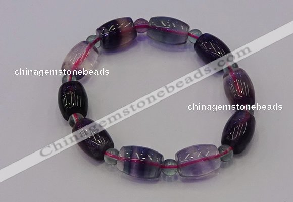 CGB661 7.5 inches 6mm round & 10*14mm drum fluorite bracelet