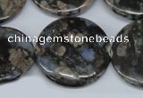CGE10 15.5 inches 30mm flat round glaucophane gemstone beads