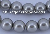CGL372 10PCS 16 inches 4mm round dyed glass pearl beads wholesale